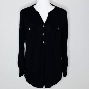 Style & Co Half Button Down Shirt Black